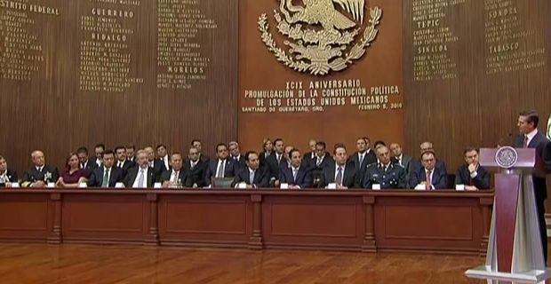 Aspecto de la  Ceremonia por el 99 Aniversario de Promulgación de la Constitución de los Estados Unidos Mexicanos de 1917. Imagen: youtube.com