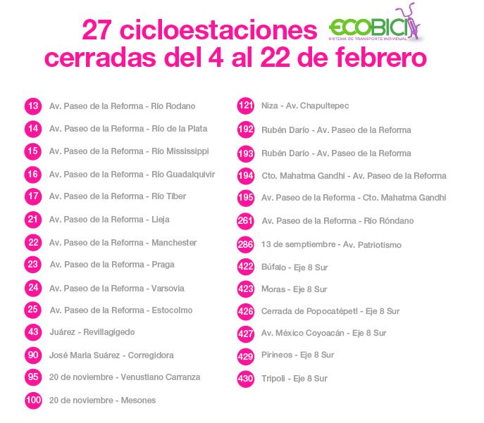 Cicloestaciones cerradas del 4 al 22 de febrero. Imagen: http://www.sedema.df.gob.mx/sedema/index.php/cierre-de-cicloestaciones-febrero-2016