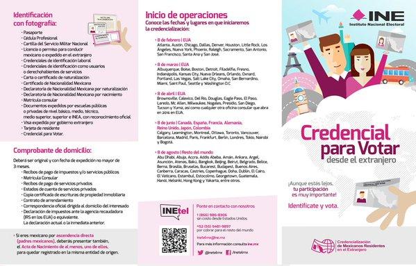 Requisitos para tramitar credencial para votar en el extranjero. Imagen: Twitter.com/@INEMexico.com