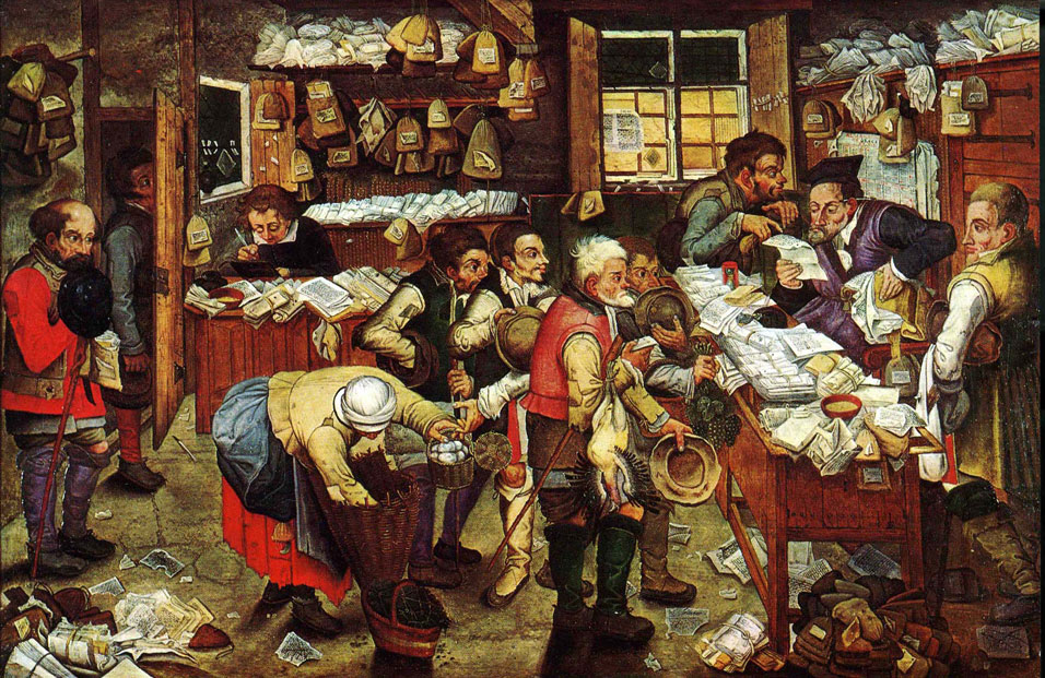 Pieter Brueghel the Younger, The Tax Collector, oil on panel 1620-1640