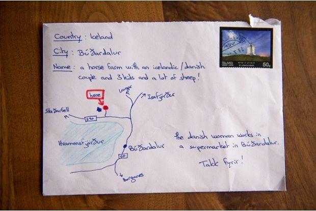 carta con mapa dibujado