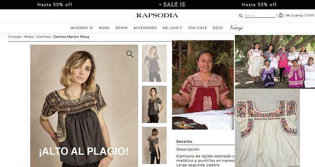 Rapsodia es acusada de plagio de diseños de prendas típicas zapotecas/Imagen:Especial/Rapsodia
