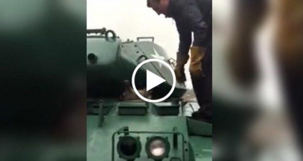 Mira el tierno rescate de mapache atrapado en tanque blindado — Facebook