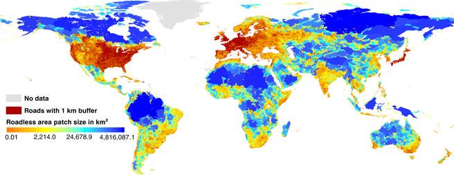 Mapa global de las áreas sin acceso por carretera