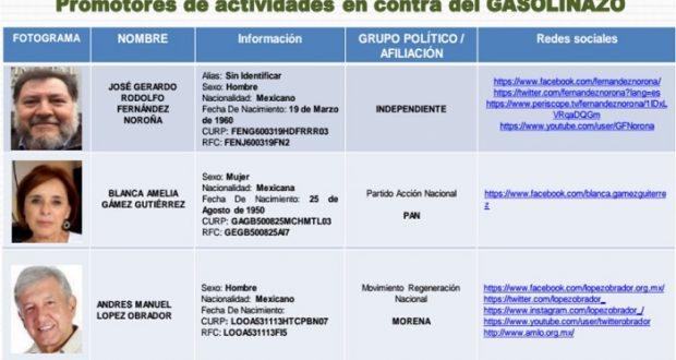 """CNS investiga a AMLO, Noroña, Delgado y otros por """"promover"""" protestas contra """"gasolinazo"""""""