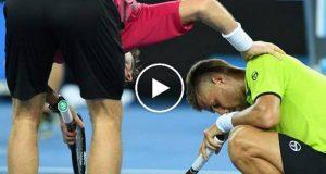 El tenista eslovaco Martín Klizan recibió un golpe en la ingle durante el Abierto de Australia