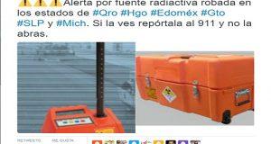 Continúa alerta en 6 estados por robo de fuente radioactiva
