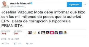 AMLO ataca en redes a Vázquez Mota