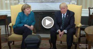 Así fue el incómodo momento entre Angela Merkel y Donald Trump en la Casa Blanca