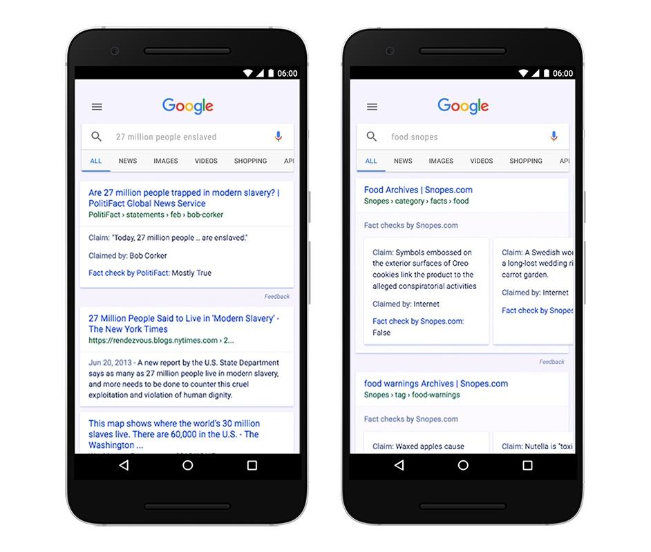 Forma en la que Google clasificará una noticia falsa
