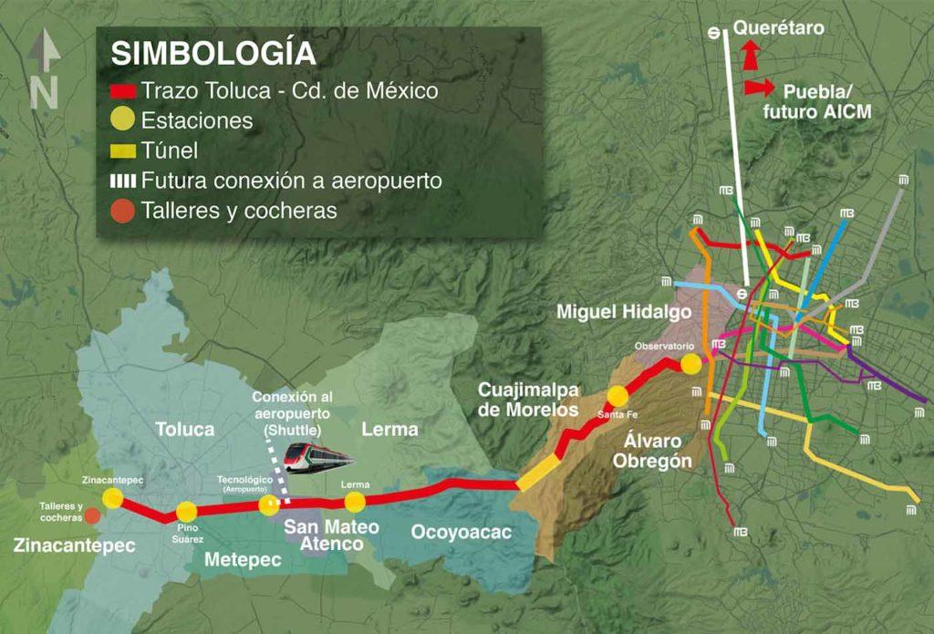 Tren Interurbano de México a Toluca trayectoria mapas y costos / SCT
