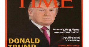 Revista Time pide retirar portada falsa exhibida en clubes de Trump