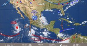 Huracán Eugene eleva fuerza a categoría 3 en aguas mexicanas. La fuerza del huracán Eugene se incrementó a categoría 3 en aguas del Océano Pacífico, alejando de las costas mexicanas por lo que no representa un riesgo. El Servicio Meteorológico Nacional informó la trayectoria del huracán Eugene, que en las últimas hora incrementó su fuerza a categoría 3 en el Océano Pacifico, ubicado a 910 kilómetros al suroeste de Cabo San Lucas y a 500 kilómetros al suroeste de Isla Socorro, Colima, con desplazamiento hacia el nor-noroeste a 17 kilómetros por hora.