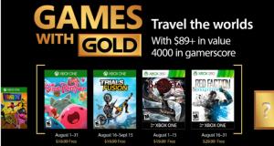 Microsoft anunció los cuatro videojuegos que se podrán descargar de forma gratuita a través del programa Games With Gold durante el mes de agosto 2017 exclusivamente para miembros Xbox Live Gold.
