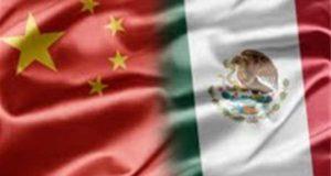 Bandera de China y bandera de México