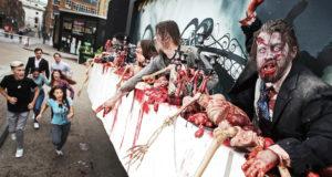 """En reino Unido se realizó el primer billboard """"viviente"""" promocionando The Walking Dead."""