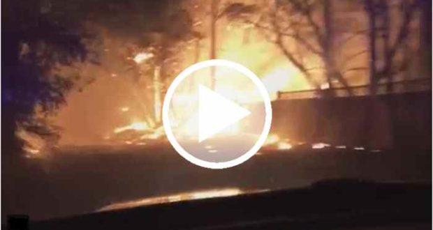 Un oficial cruza las llamas para salvar a personas atrapadas por los incendios de California [Video]