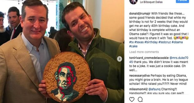 Donald Trump Jr. se burla de Obama con galleta de mal gusto