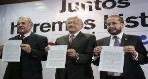 Encuentro Social y PT firman coalición con Morena para apoyar a Obrador