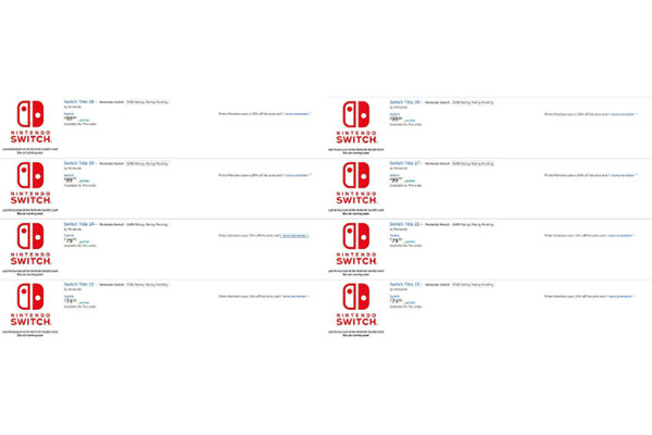Amazon publicó una lista de desconocidos títulos de Nintendo Switch