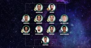 La lista incluye cinco jugadores del Real Madrid, dos de Juventus y un representante de Barcelona, Chelsea, Manchester City y Paris Saint-Germain.