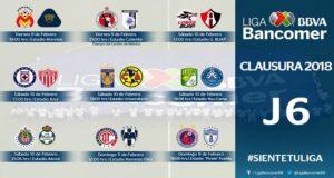 La fecha seis del torneo Clausura 2018 en la Liga Bancomer MX contará con un par de partidos entre los equipos que se encuentran en la parte alta de la tabla, mientras que Veracruz podría salir del fondo de la porcentual.