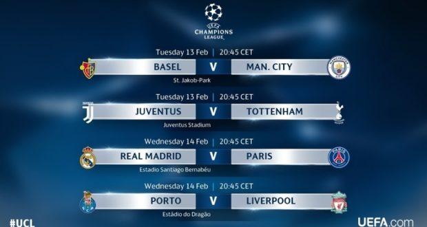 Juventus, Real Madrid y PSG tendrán participación primera semana de octavos de final.