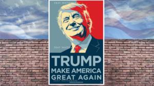 Trump y cartel de campaña