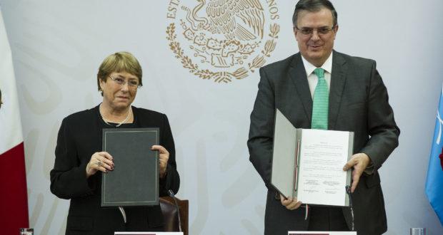 la alta comisionada de las Naciones Unidas para los Derechos Humanos, Michelle Bachelet, el gobierno mexicano, a través de la Secretaría de Relaciones Exteriores (SER) firmó el Acuerdo Acuerdo de Asesoría y Asistencia Técnica para la Comisión de la Verdad del caso Ayotzinapa