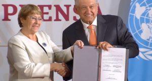 alta comisionada de Naciones Unidas, Michel Bachelet firmó con el gobierno de López Obrador un acuerdo a través del cual se vigilará y apoyará el miramiento a todos.