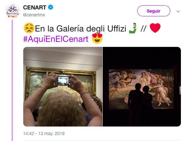 Vista en la Galería Uffizi y en el Cenart.
