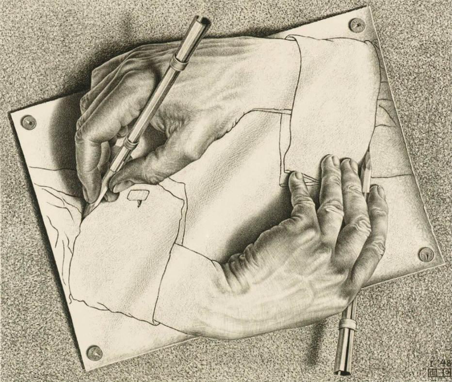 Manos dibujando (1948) de Escher.