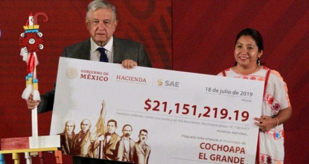 Municipios de Guerrero reciben de AMLO 42 mdp por subasta de propiedades