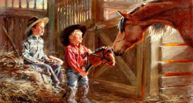 A caballo.