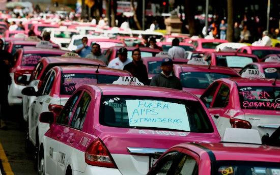 marcha de taxistas en la cdmx