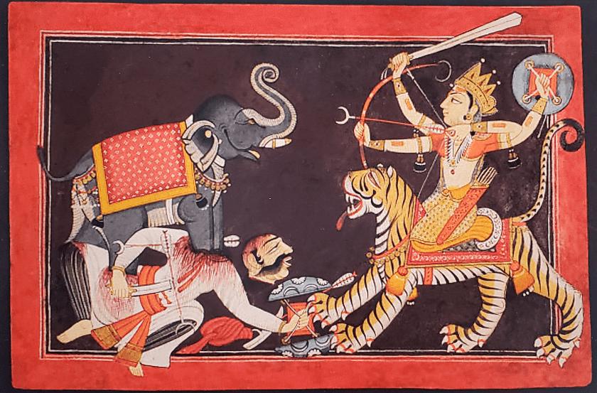 Durga enfrentando al demonio Mahishá