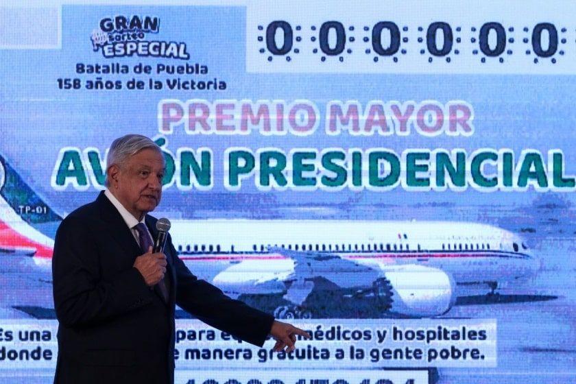 Boleto de Lotería Nacional para rifa Avión Presidencia