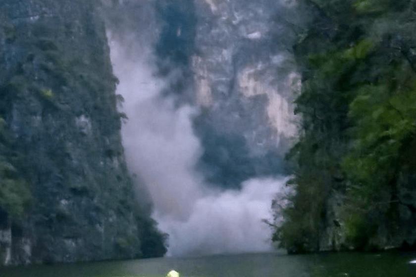 Video del desgajamiento en el Cañón del Sumidero