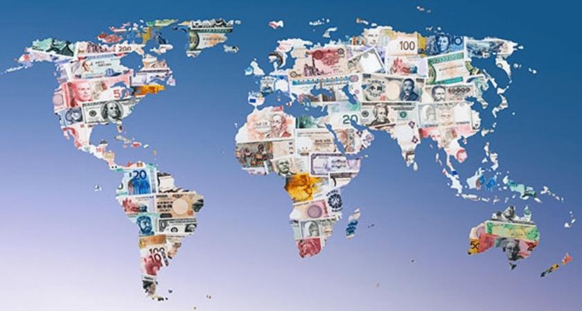 mapa con monedas internacionales