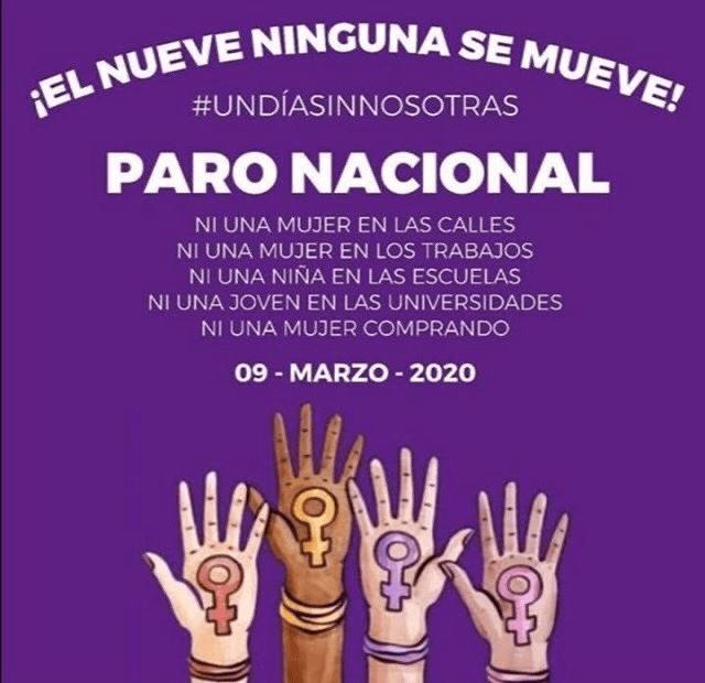 Paro Nacional 2020 mujeres contra feminicidios