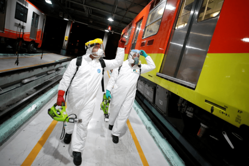 limpieza profunda metro de la CDMX por coronavirus