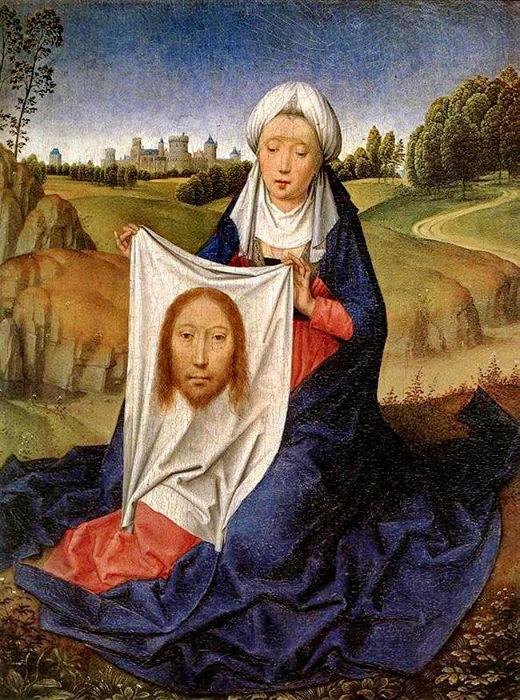 mujer con manto de jesus