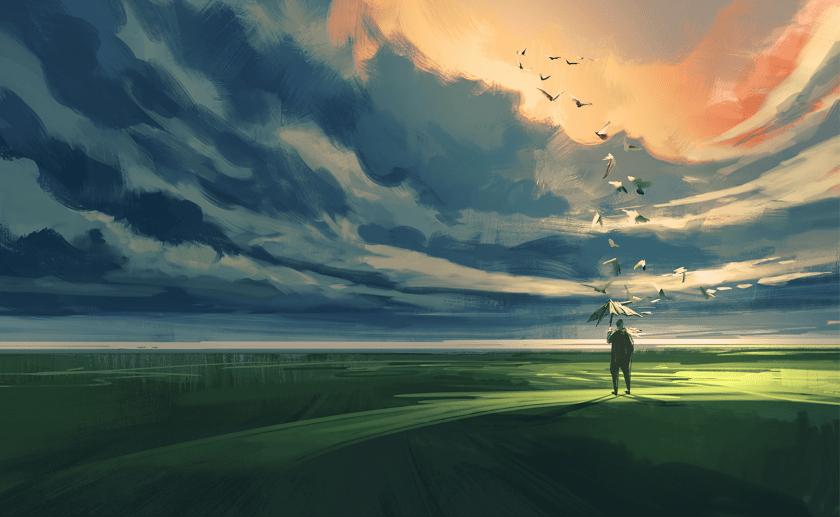 incertidumbre, pintura, pájaros
