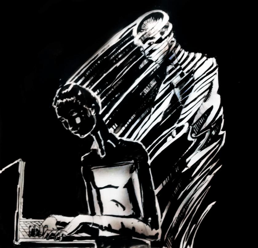 mujer escribiendo en computadora