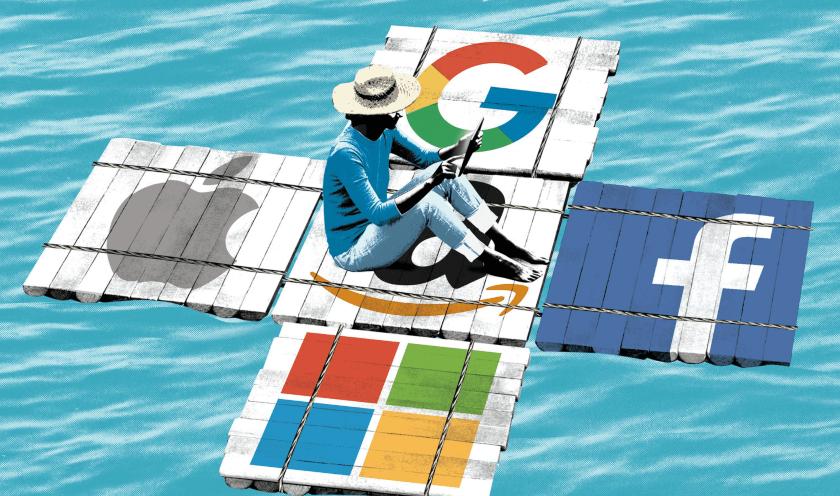 gigantes tecnologicos Microsoft, Facebook, Google, Amazon
