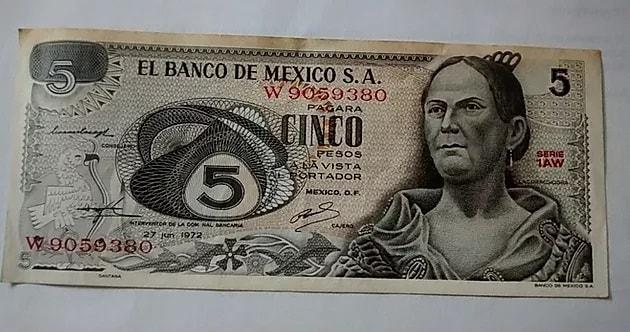 Josefa Ortiz de Dominguez, billete 5 pesos