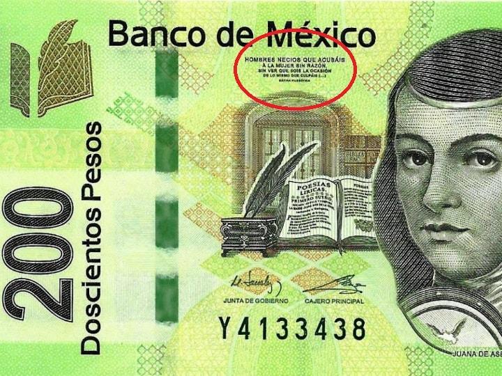 billete 200 pesos, verso Sor Juana