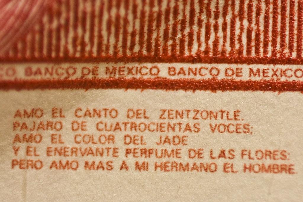 billete y verso de Nezahualcoyotl