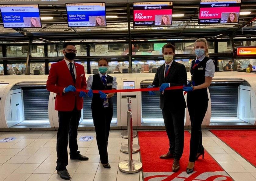 Lanza Aeroméxico sistema automatizado de check-in en Amsterdam