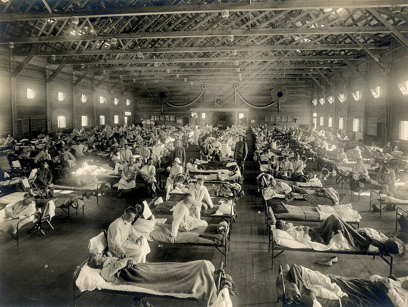 enfermos en cama 1918, gripe española